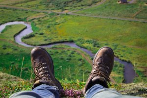 feet on a hill in Iceland