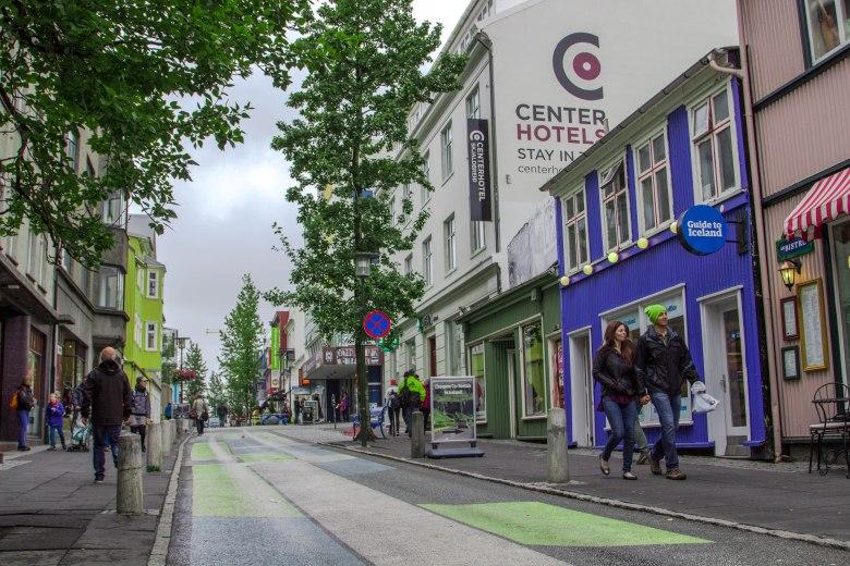 Laugavegur Street in Reykjavik, Iceland.